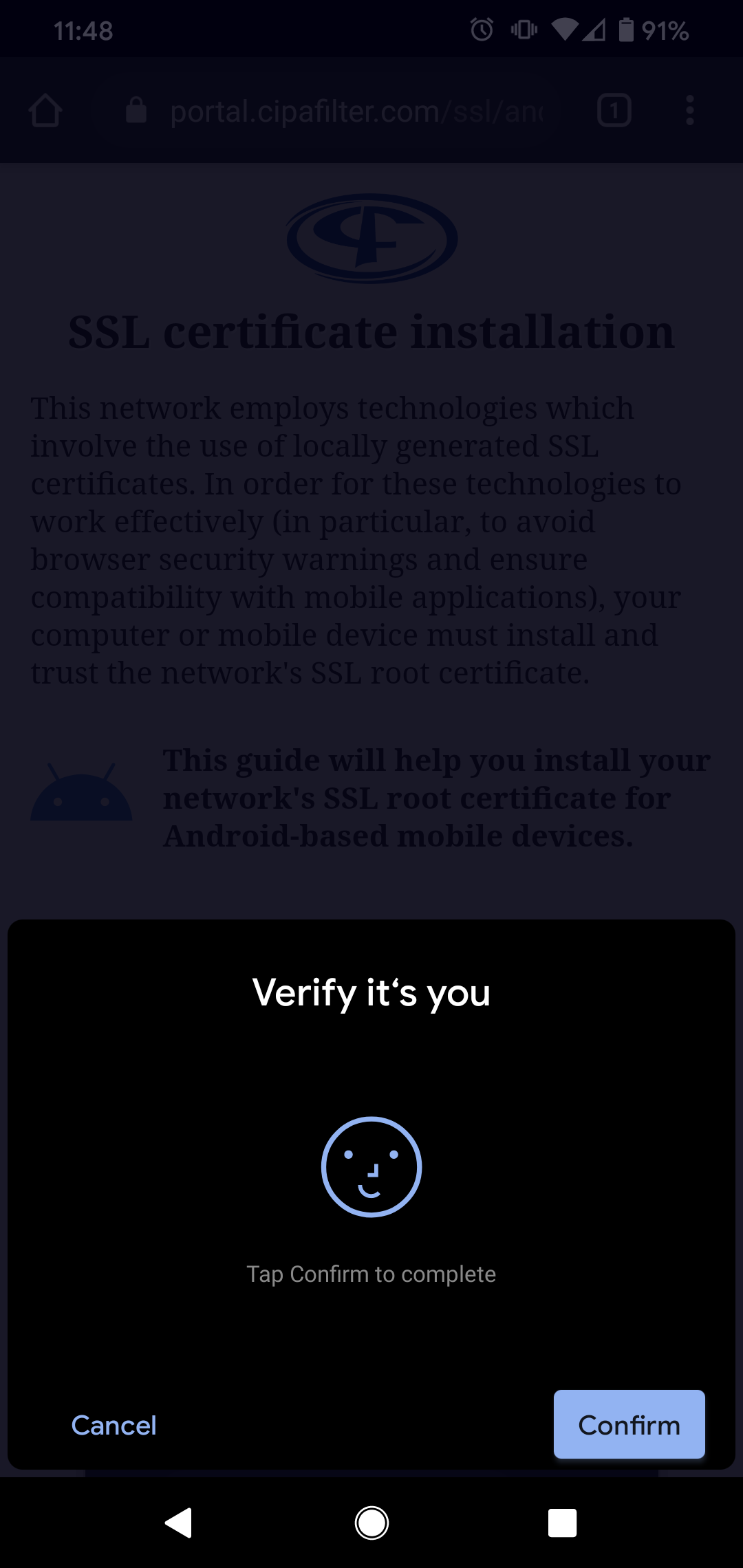 Android identity verification prompt
