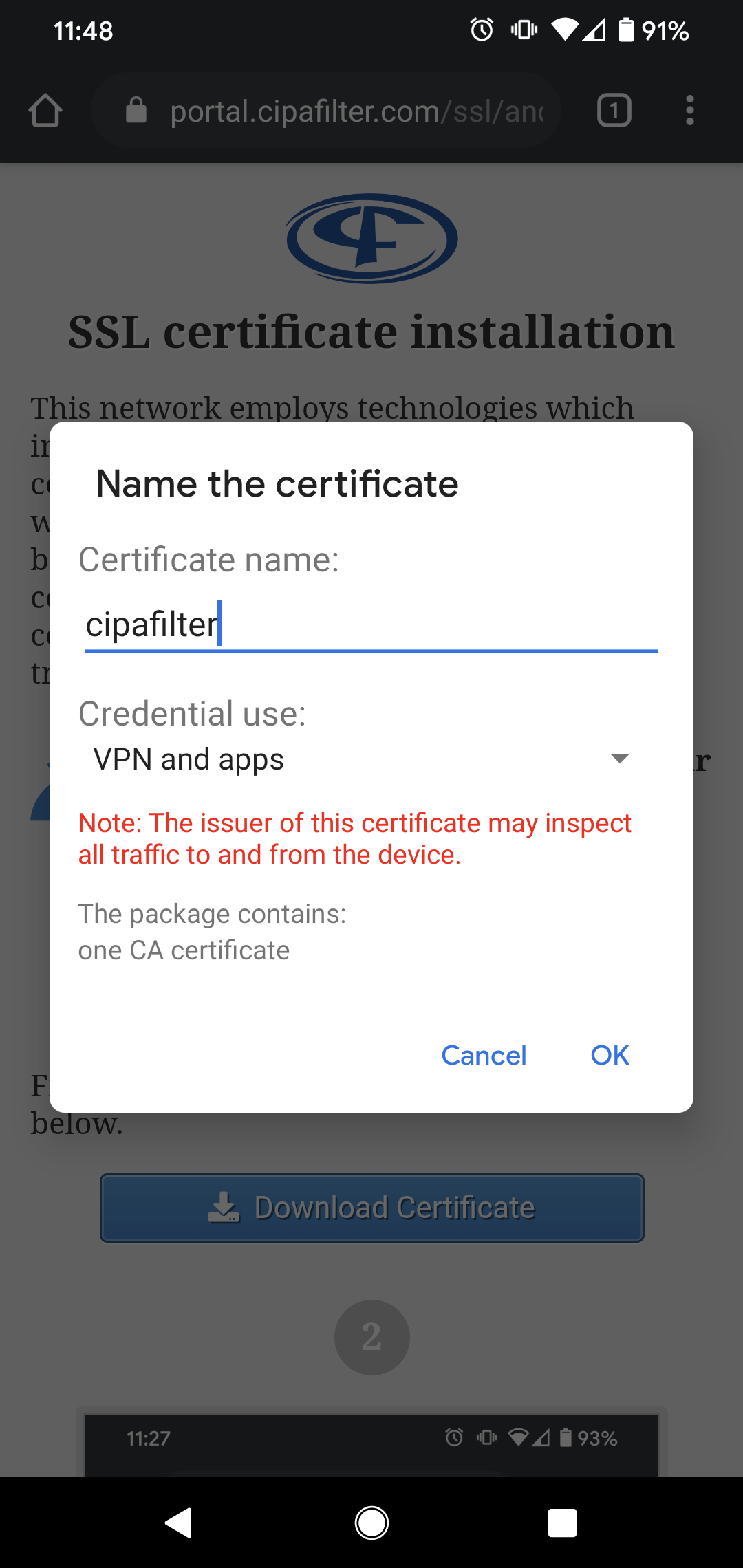 Android certificate prompt