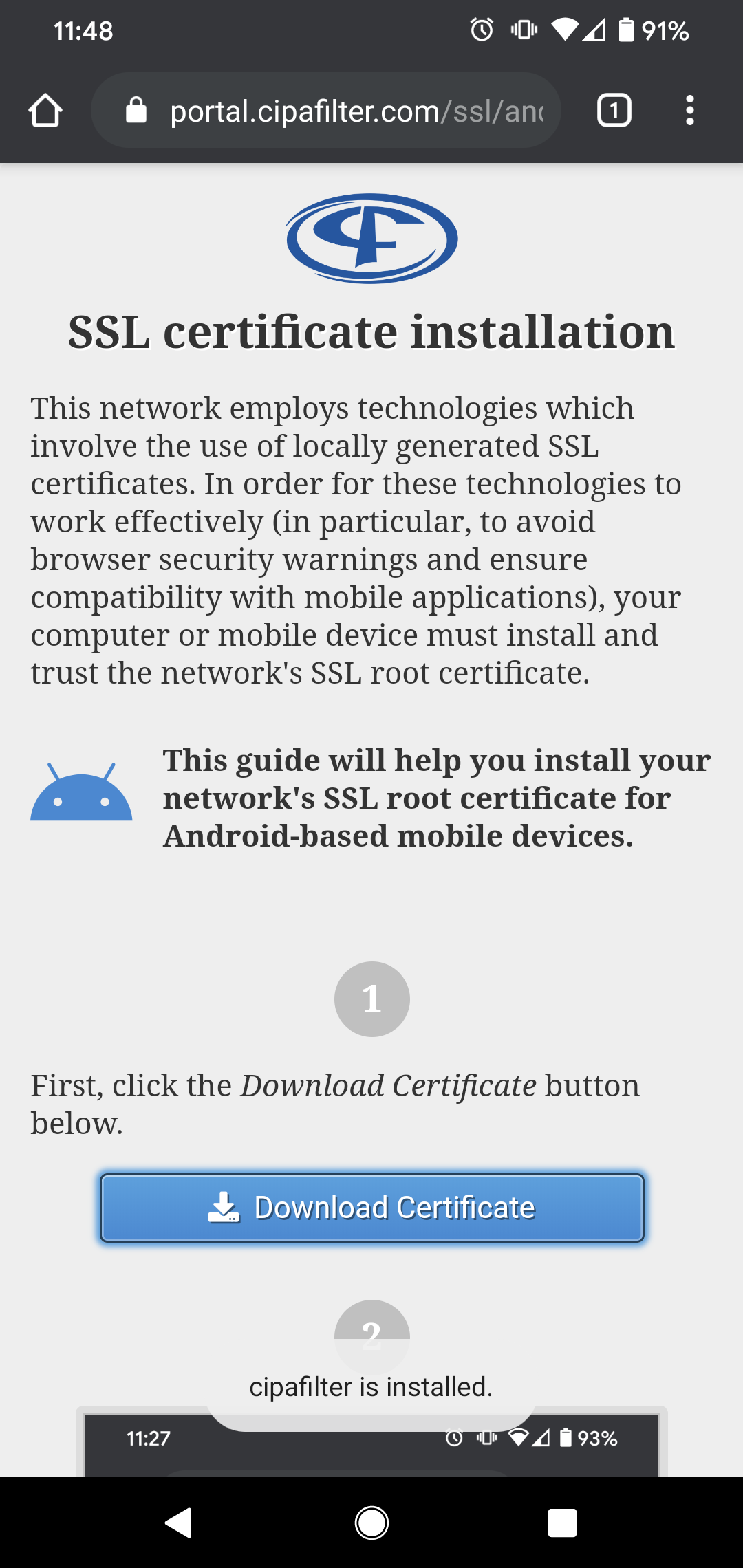 Android certificate installation notice